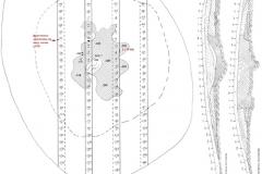 Рис. 2. Курганная группа Алексеевка III, курган 10. План и профили центральной бровки