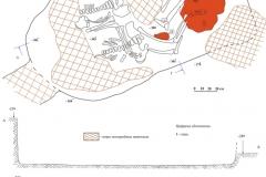 Рис. 3. Курганная группа Алексеевка III, курган 10. План и профили погребения (1) и керамика из насыпи (2)