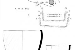 Рис. 5. Курганная группа Алексеевка-Березовая.  Курган 1, погребение 1. 1 – план и профили погребения; 2, 3 – керамика из погребения