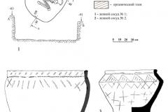 Рис. 6. Курганная группа Алексеевка-Березовая.  Курган 1, погребение 2. 1 – план и профили погребения; 2, 3 – керамика из погребения; 4, 5 – фрагменты керамики из заполнения могильной ямы
