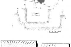 Рис. 9. Курганная группа Алексеевка-Березовая.  Курган 1. План и профили погребения 8 (1) и керамика из него (2, 3)