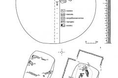 Рис. 4. Курганный могильник Ястребовка. Курган 1. 1 – план кургана; 2 – деревянное перекрытие погребения 1; 3 – план погребения 1