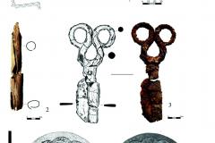 Рис. 10. Селище Белозерки IV. 1 – план погребения 4; 2 – берестяной футляр; 3 – железные ножницы; 4 – бронзовое зеркало