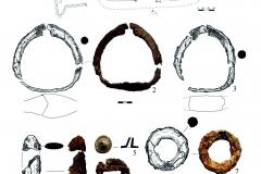Рис. 11. Селище Белозерки IV. 1 – план погребения 5; 2, 3 – железные стремена; 4 – железный наконечник стрелы; 5 – свинцовая пломба; 6, 8 – железные пряжки; 7 – железное кольцо