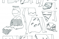Рис. 3. Селище Белозерки IV. Фрагменты лепной керамики; 1-9 – котлован постройки; 10-19 – пласт 1