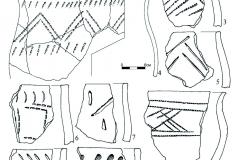 Рис. 6. Селище Белозерки IV. Пласт 3. 1-11 – фрагменты лепной керамики; 12 – бронзовое изделие