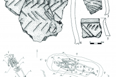 Рис. 9. Селище Белозерки IV. 1-5 – фрагменты лепной керамики из пласта 4; 6 – план погребения 1; 7 – план погребения 2; 8 – план погребения 3