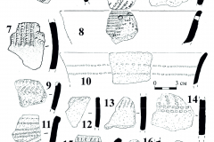 Рис. 3. Поселение Бессергеневка. 1-21 – керамика константиновской культуры