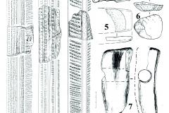 Рис. 5. Поселение Бессергеневка. 1-3, 8-11 – керамика константиновской культуры; 4, 6 – кремневые нуклеусы; 5 – обломок шлифованного топора; 7 – орудие из рога оленя