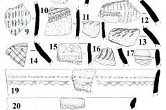 Рис. 7. Поселение Бессергеневка. 1-22 – керамика константиновской культуры