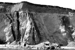 Рис. 3. Внедрение альбских глин (нижн. мел) в слои сеномана (верхн. мел), перекрытые горизонтально залегающими хвалынскими глинами (2,7 км к югу от с. Сосновки, 2007 г.)