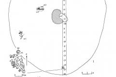 Рис. 52. Буровка 1. Курган 9. 1 – план кургана; 2 – стратиграфия кургана.