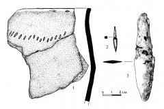 Рис. 53. Буровка 1. Курган 9. 1, 4 – керамика из погребения 1; 2 – бронзовое шило из погребения 1; 3 – бронзовый нож из погребения 1.