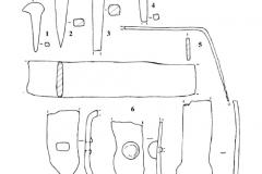 Рис. 10. Царёвщинский мавзолей. Гвозди (1-4) и скобы (5-9). Железо