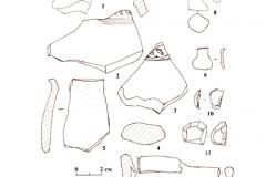 Рис. 9. Царёвщинский мавзолей. Находки из разрушенных погребений и тризн. 1-5, 12 – глина; 6-9 – железо; 10, 11– кремень