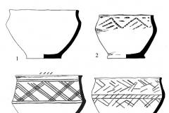 Рис. 51. Станция Чернавка. Курган 1. Керамика из погребения 1 (1), 2 (2-4) и насыпи (5-6).