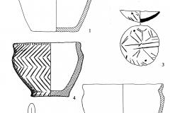Рис. 8. Широкий Карамыш 2, курган 4. Предметы из погребения 9; 1-5 – керамика; 6 – бронзовый нож; 7 – пастовые бусы; 8 – бронзовая подвеска.