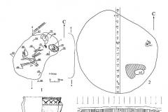 Рис. 55. Дубовый Гай 1. Курган 12. 1 – погребение 1; 2 – план кургана; 3 – бровка; 4 – погребение 2; 5 – сосуд из погребения 1; 6 – сосуд из погребения 2.
