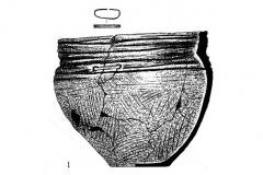 Рис. 61. Дубовый Гай. Сосуд с бронзовой скрепкой из погребения (1) и сосуд 1 из погребения 2 (2).