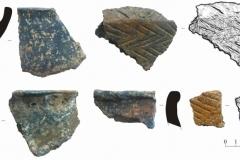 Фрагменты керамики. Поселения эпохи бронзы.