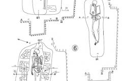 Рис. 4. Северо-западный некрополь Увекского городища. Планы и разрезы погребений № 5, 6, 8