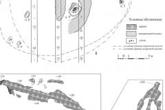 Рис. 2. Горбатый мост. Курган 6. 1 – план кургана; 2, 3 – перекрытие погребения 11