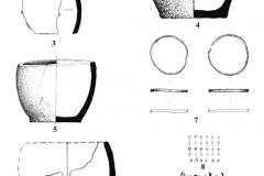 Рис. 8. Горбатый мост. Курган 6. 1-3 – находки в насыпи; 4 – сосуд 1, погребение 5; 5 – сосуд 2, погребение 5; 6 – сосуд из погребения 6; 7 – браслеты бронзовые из погребения 5; 8 – бусы пастовые из погребения 5; 9 – фрагменты лапчатых подвесок из сурьмы; 9 – височные бронзовые подвески