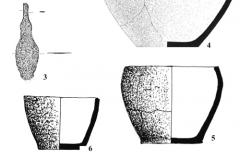 Рис. 9. Горбатый мост. Курган 6. 1 – сосуд 1, погребение 8;2 – сосуд 2, погребение 8; 3 – бронзовый нож, погребение 9; 4 – сосуд 1, погребение 9; 5 – сосуд 1, погребение 10; 6 – сосуд 2, погребение 10; 7 – сосуд 1, погребение 12; 8 – сосуд 2, погребение 12