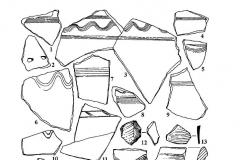 Рис. 77. Фрагменты красноглиняной гончарной керамики (1-11, 14-24) и кремневые отщепы (12-13).