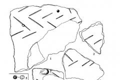 Рис. 81. Фрагменты керамики от лепных сосудов (1-4), находки из погребений: 5 (11), 6 (12), 23 (7-12) и 30 (13).
