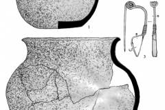 Рис. 12. Курганный могильник Калмыцкая гора в Марксовском районе Саратовской области. Находки из погребения 7. 1, 4 – керамика; 2 – кожа; 3 – бронза