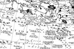 Рис. 2. Фрагмент карты «Тартарии» Николааса Витсена, составленной по документам 1650-х-60-х гг. Здесь на территории северной Джунгарии от-мечены орда Контайши, «Аблай - принц калмыков» и Далайчидан (Дай-чин). Имя Аюки отсутствует