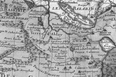 Рис. 4. Фрагмент карты «Великой Тартарии» Гийома де Лиля 1709 г. Здесь к югу от ставки Аблая сохраняется имя Аюки, но отсутствует имя Дайчина