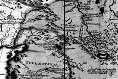 Рис. 5. Фрагмент «карты Петра I», составленной, вероятно, в 1720-1725 гг. пленными шведскими офицерами в Сибири. Саратов находится на левом берегу, а ставка хана Аюки – в междуречье Яика и Волги