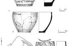 Рис. 10. Кулатка. Курган 3. 1- 2 – сосуды из погребения 1; 3 – план и профиль погребения 2; 2 – сосуд из погребения 2