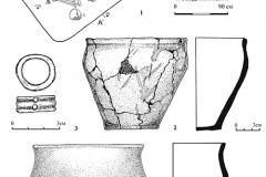 Рис. 6. Кулатка. Курган 2. 1 – план и профиль погребения 3 и находки из него (2-4);  2, 4 – сосуды; 3 – костяное кольцо