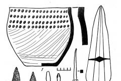 Рис. 6. Инвентарь из погребения 2 Покровского кургана 15 юго- восточной группы: 1 – керамика; 2, 3 - кремень; 4 – 6, 14 – бронза; 7 - 11, 13 – кость; 12 – фаянс, сурьма, бронза.