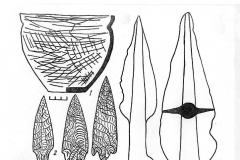 Рис. 4. Покровск, юго-восточная группа, погребение из кургана 8: 1 – керамика; 2-4 – кремень; 5, 6, 9 – бронза; 7, 8 – кость. 5, 8 - по П.С. Рыкову; 7 – по И.В. Синицыну.