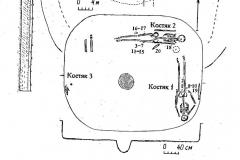 Рис. 1. План кургана 4 у с. Березовка и погребения из него.