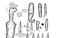 Рис. 2. Находки из кургана 4 у с. Березовка (номера рисунков соответствуют нумерации на плане). 1, 2, 6, 7, 19, 20 - железо; 3 - кость; 4, 5, 8-18 - бронза.