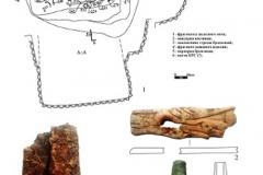 Рис. 4. Курганный могильник Прудовый 1. Курган 1. 1 – план погребения 4; 2-6 – находки из погребения 4
