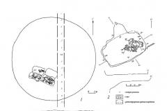 Рис. 2. Одиночный курган Суворовский 1. 1 – план кургана; 2 – план погребения 1; 3 – стратиграфия кургана; 4 – план погребения 4.