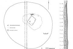 Рис. 4. Одиночный курган Суворовский 2. 1– план кургана; 2 – стратиграфия кургана; 3 – план погребения 2.