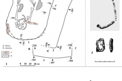 Рис. 2. Барановка, курган 29. 1 – план погребения 1; 2, 3 – находки из погребения 1; 4 – план погребения 2. 2 – гагат, стекло; 3 – железо