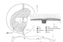 Рис. 56. Одиночный курган к востоку от с.Ново-Яблоновка. 1 – план кургана; 2 – стратиграфия кургана; 3 – погребение 1; 4 – деревянное перекрытие погребения 1.