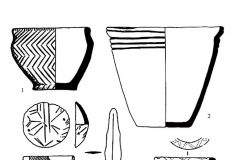Рис. 85. Широкий Карамыш 2, курган 4. 1, 3-5, 7 – погребение 9; 6 – погребение 6; 8 – тризна 2. 1-3, 6-8 – керамика;4, 5 - бронза.