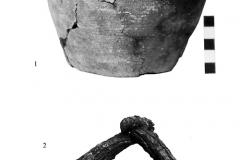 Рис. 7. Курганный могильник Чилгир. Находки из погребения 1 кургана 6. 1 –керамика, 2   железо