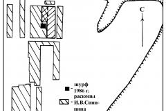 Рис. 3 Схематичный план раскопов на Задоно-Авиловском селище №-1-и-грунтового-могильника