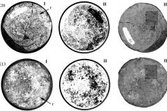 Рис. 2. Днища сосудов из курганов № 20 (К20) и № 13 (К13). II – негативное изображение. Г – г-образные структуры. А, В, С – опорные идентифицирующие признаки участков днища