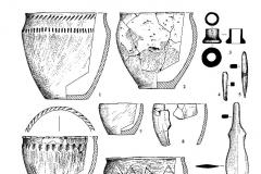 Рис. 8. Курганный могильник Мессер V. Курган 1. Находки из погребений: 1 (1-5), 2 (6, 7), 3 (8), 4 (9-13). Курган 2. Находки из погребения 1 (14-15). 1, 2, 6-8, 12-15 – глина; 3, 10, 11 – кость; 4, 5, 9 – бронза.